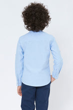 Load image into Gallery viewer, Blue Plain Mandarin Collar Shirt