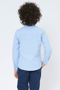 Blue Plain Mandarin Collar Shirt