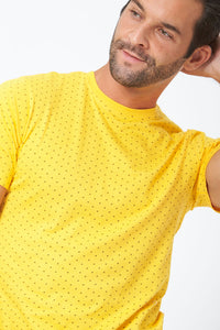 Yellow Allover Diamond Print T-Shirt
