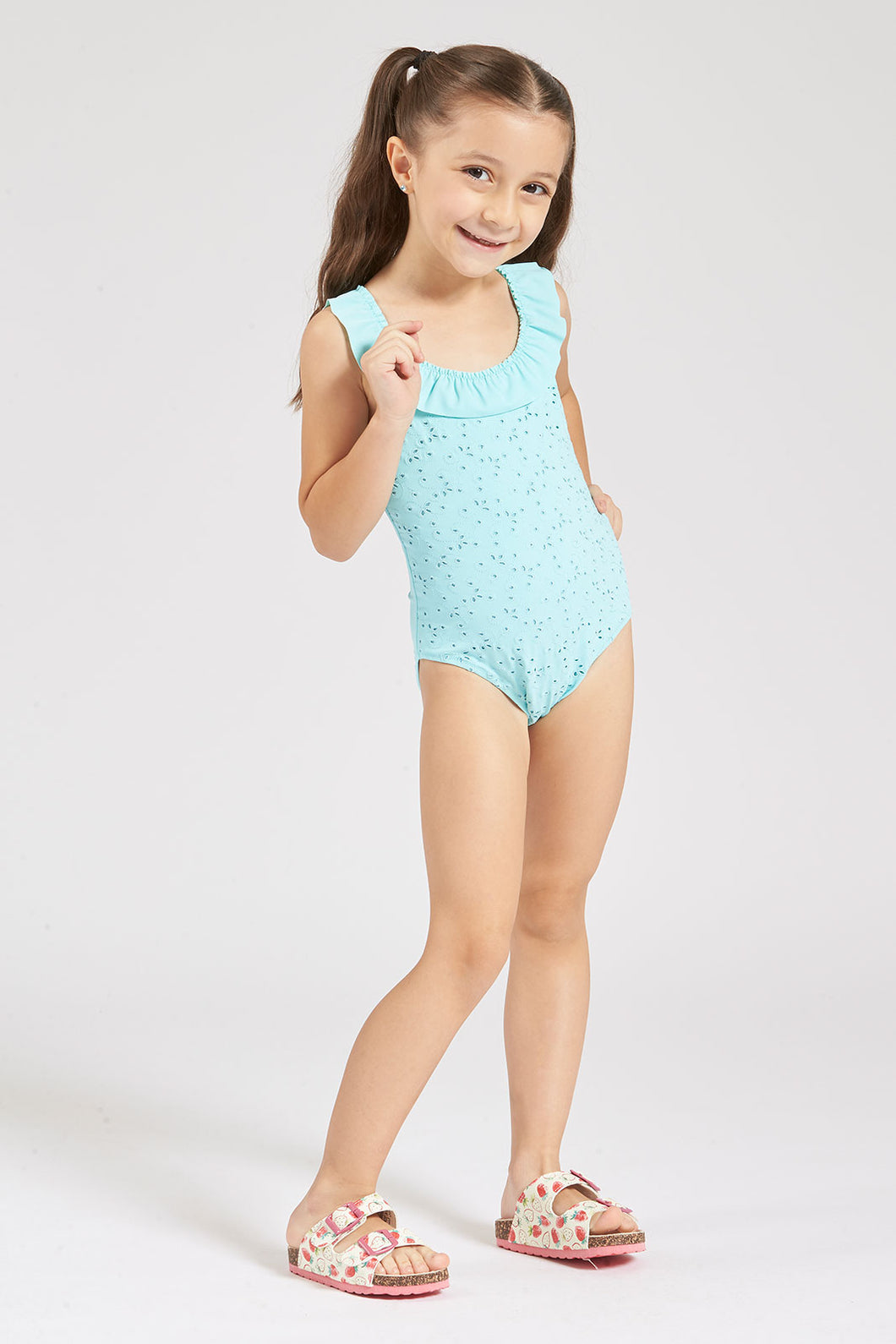 Blue Embroidered Swimsuit