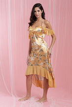 Load image into Gallery viewer, Gold Allover Print Satin Chemise With Frill