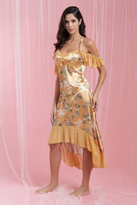 Gold Allover Print Satin Chemise With Frill