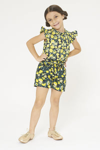 Yellow Lemon Printed Short