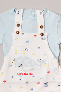 Blue & White Catch The Wave Dungaree Shape Romper