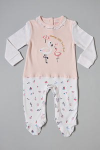 Pink And White Flamingo Sleepsuit