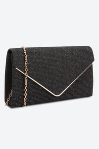 Black Glitter-Embellished Envelope Clutch Bag