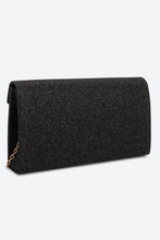 Load image into Gallery viewer, Black Glitter-Embellished Envelope Clutch Bag