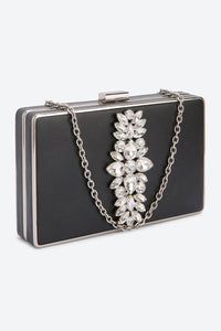 Black Evening Clutch With Crystal Floral Embellished