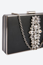 Load image into Gallery viewer, Black Evening Clutch With Crystal Floral Embellished