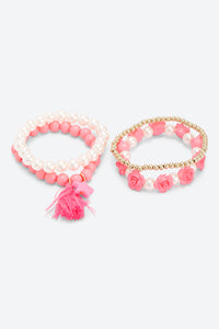 Multi Colour Set Of 4 Beads And Pearl Bracelets