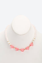 Load image into Gallery viewer, Pink And White Set Of 2 Pearl Heart Necklace and Bracelet Set
