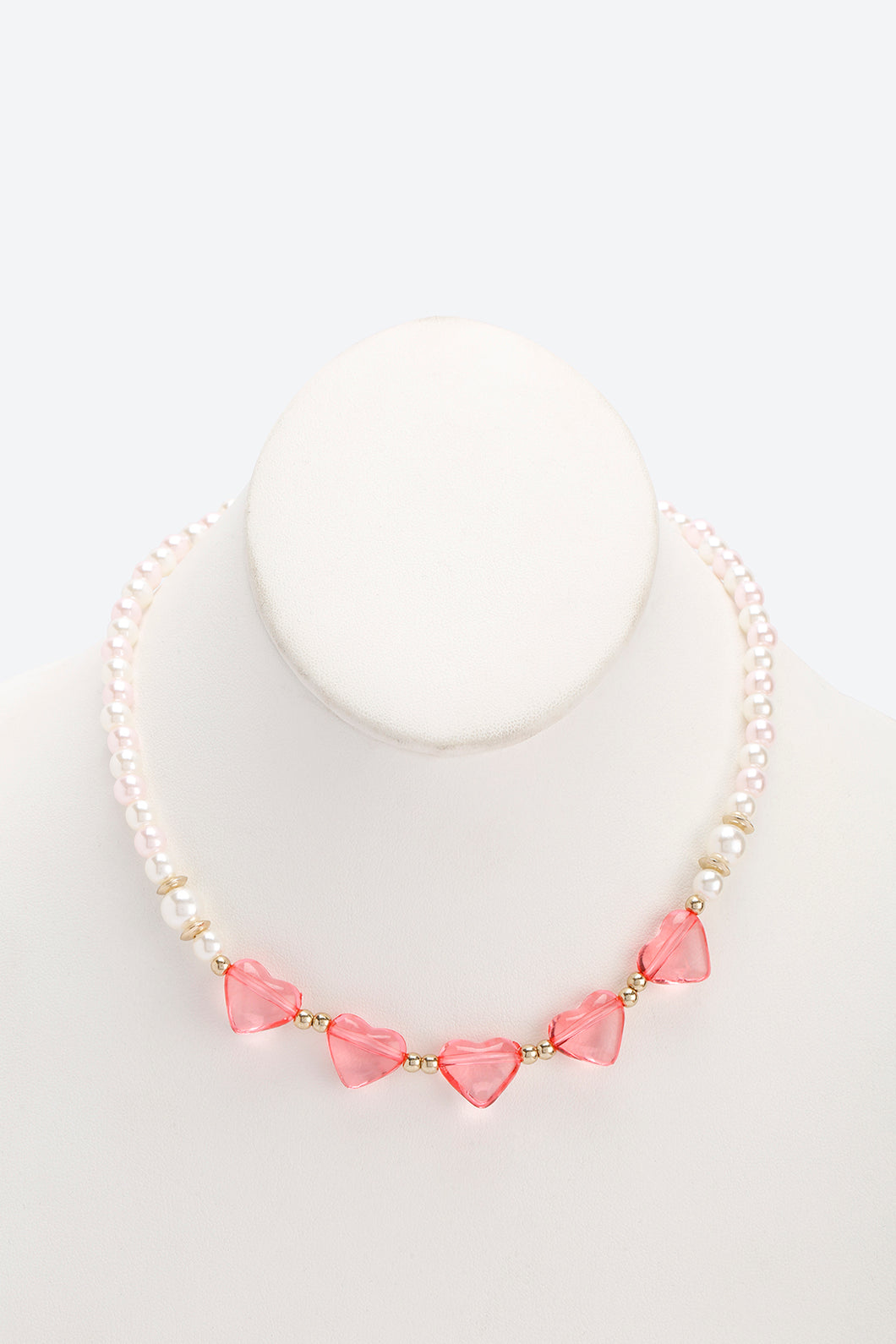 Pink And White Set Of 2 Pearl Heart Necklace and Bracelet Set