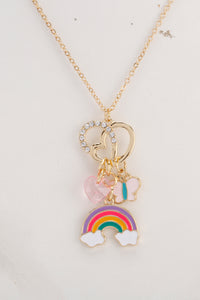 Multi Colour Set Of 2 Rainbow Necklace And Earrings Set