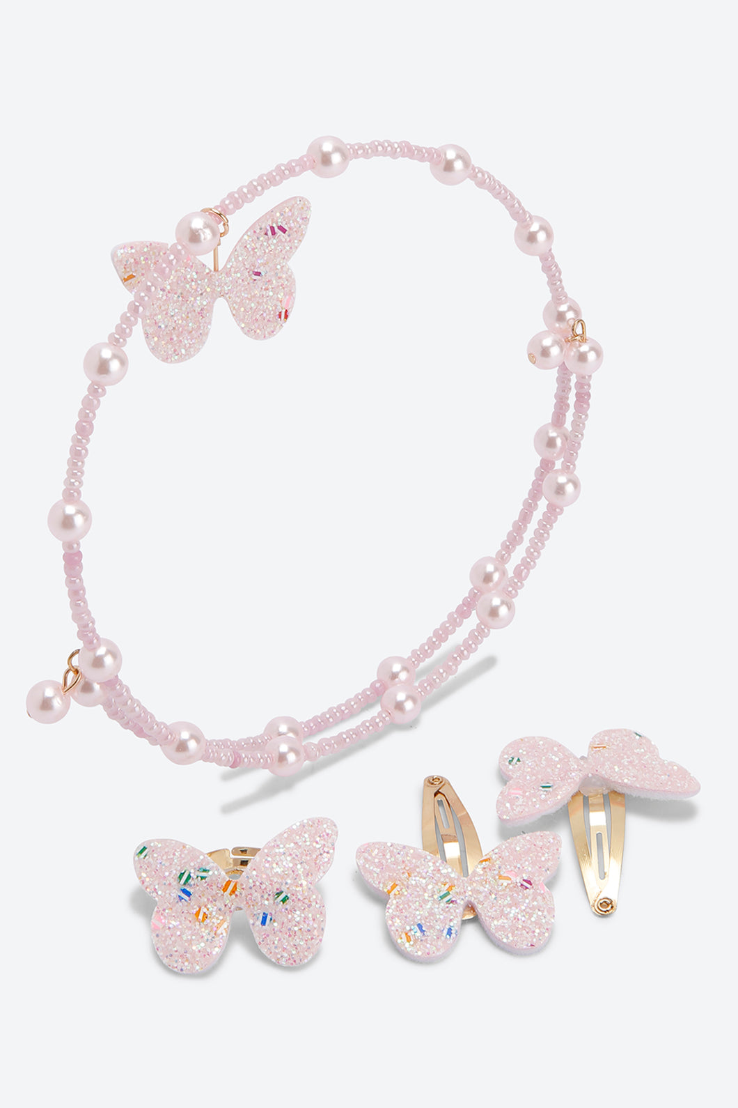 Pink Set Of 3 Pearl Butterfly Choker Necklace Ring and Hair Pin Set