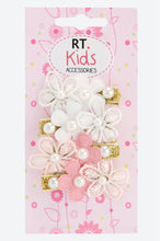 Load image into Gallery viewer, Multi Colour Pack Of 4 Floral Pearl Embellished Hair Clips