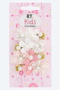 Multi Colour Pack Of 4 Floral Pearl Embellished Hair Clips