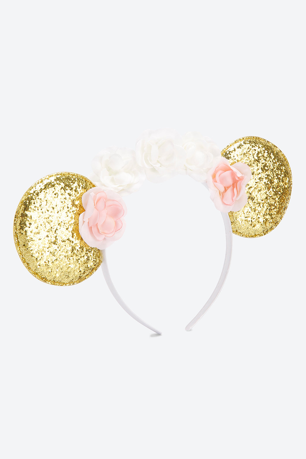 Multi Colour Glitter Ears And Floral Headband
