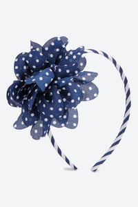 Navy Blue Big Bow Polka Dot Headband