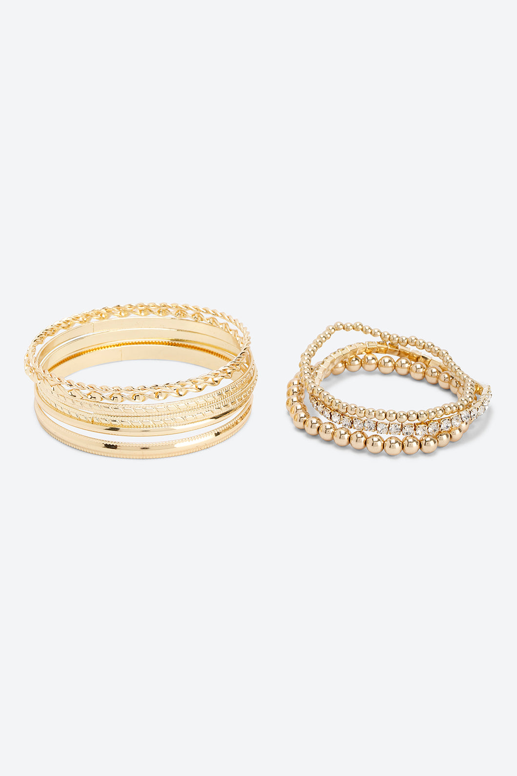 Gold Colour Assorted Bracelets And Bangles (9-Pieces)