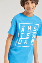 Load image into Gallery viewer, Blue Amsterdam Graphic Print T-Shirt