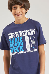 Navy Skate Board Deck Graphic Print T-Shirt