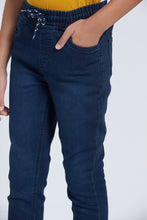 Load image into Gallery viewer, Blue Dark Wash Knit-Denim Jean