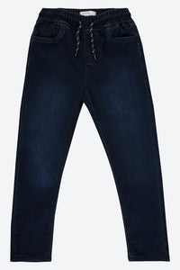 Blue Dark Wash Knit-Denim Jean