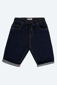 Blue Dark-Wash Pull On Denim Short