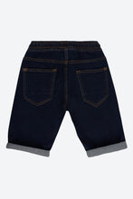 Load image into Gallery viewer, Blue Dark-Wash Pull On Denim Short