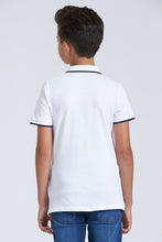 Load image into Gallery viewer, White Plain Pique Polo