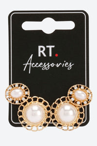 Pearl Set Of 2 Stud Earrings Pearl Embellished With Pushback Closure