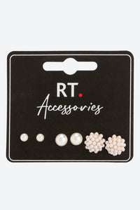Pearl Set Of 3 Stud Earrings Pearl Embellished With Pushback Closure