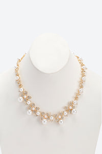 Pearl Floral And Rhinestone Embellished Statement Necklace