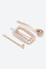 Load image into Gallery viewer, Pink Pack Of 3 Rhinestone Embellished Hair Pins