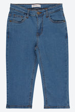 Load image into Gallery viewer, Blue Cropped 3/4 Denim Short