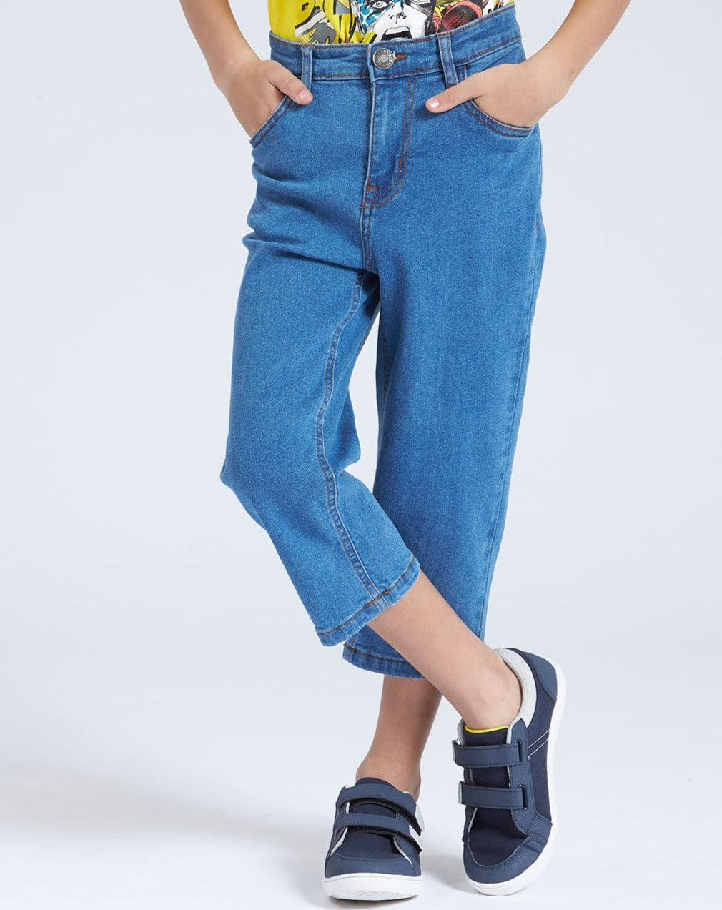 Blue Cropped 3/4 Denim Short