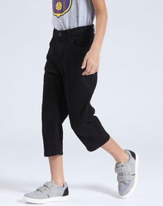 Black Cropped 3/4 Denim Short