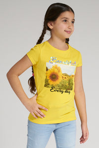Yellow Sunflower Print T-Shirt