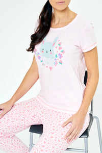 Pink Hello Printed Pyjama Set