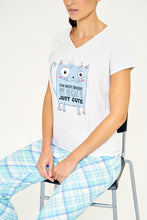 Load image into Gallery viewer, Blue Just Cute Printed Pyjama Set