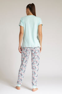 Pale Blue T-Shirt and Pyjama Bottom Set