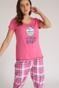 Pink T-Shirt And Pyjama Bottom Set