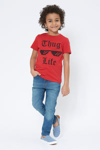 Red Thug Life Graphic Print T-Shirt