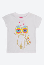 Load image into Gallery viewer, White Glitter Cat Print T -Shirt