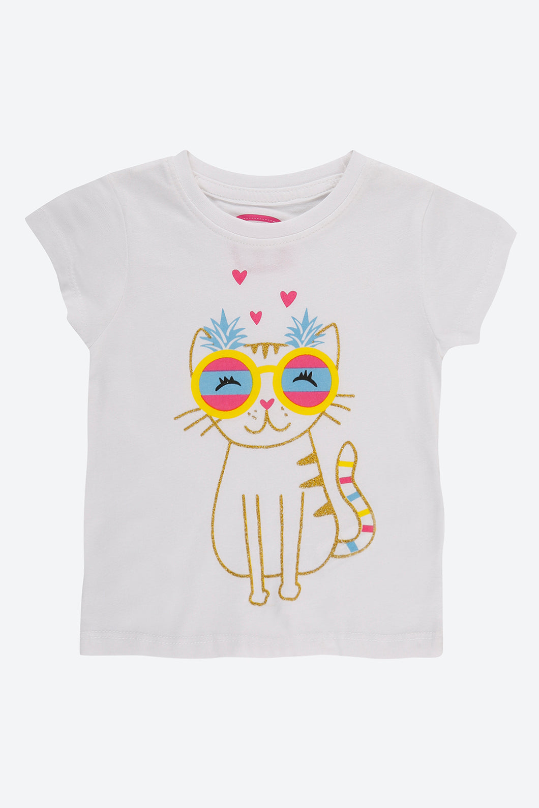 White Glitter Cat Print T -Shirt
