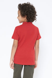 Red Plain Pique Polo
