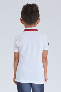 White Tape Collar Polo