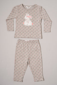 Pink/Grey Rabbit Print Pyjama Sets (2-Pack)