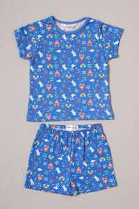 Pink/Blue Princess Print Pyjama Shorts Set (2-Pack)