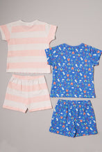 Load image into Gallery viewer, Pink/Blue Princess Print Pyjama Shorts Set (2-Pack)